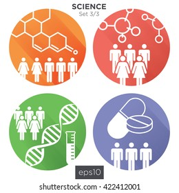 Circle 3/3 Medical Healthcare Icons with People Charting Disease or Scientific Discovery