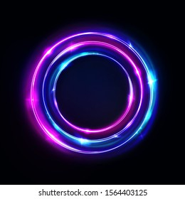 Circle abstract background, glowing neon lights, round portal. Vector. Pink blue and purple glow rings. Circular light frame, ultraviolet.