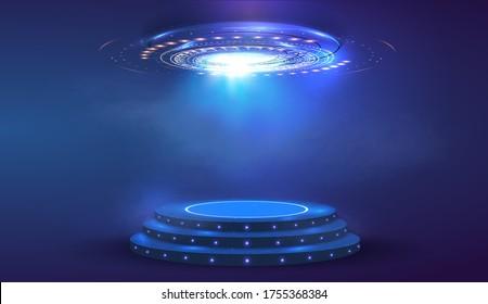 Circle abstract digital technology UI futuristic HUD Virtual Interface. Stage futuristic  podium in fog. Empty futuristic pedestal for award ceremony, platform illuminated by spotlights, stage. Vector