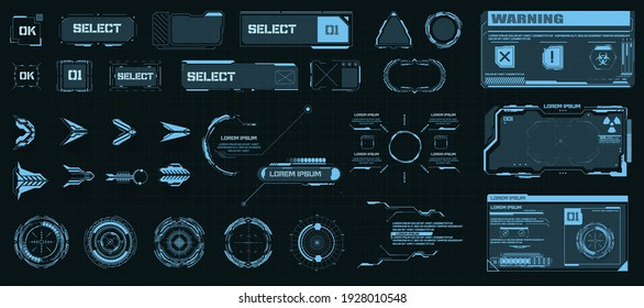 Circle Abstract digital technology UI,UX Futuristic HUD, FUI, Virtual Interface. Callouts titles and frame in Sci- Fi style. Bar labels, info call box bars. Futuristic info boxes layout templates. Aim