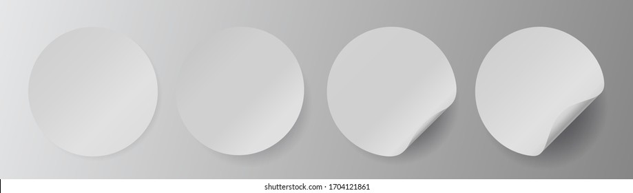 Circle adhesive symbols. White tags, paper round stickers with peeling corner, isolated rounded plastic mockup signs, Set of vector illustrations