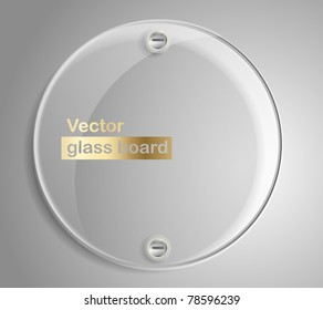 Circle advertising glass board. Place your text