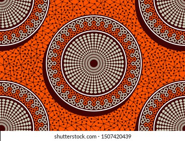 Circle african fashion seamless pattern, picture art and abstract orange color background, vector illustration file.