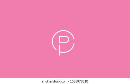 Circle alphabet letters logo CP,PC,C and P