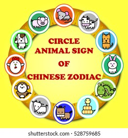 Circle animal sign of Chinese zodiac fortune in Asian culture