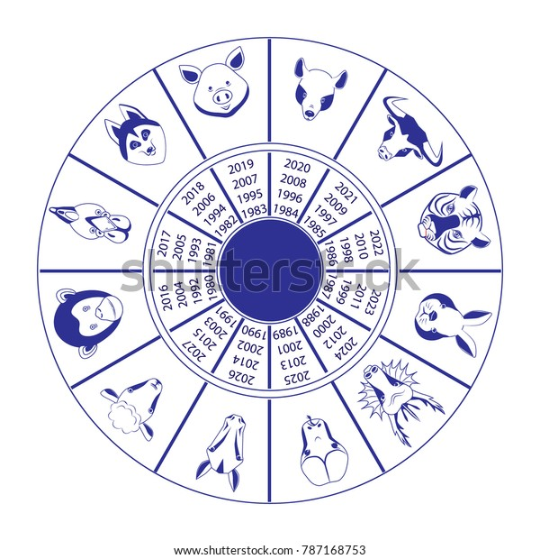 Circle Animals Oriental Horoscope Animals By Stock Vector