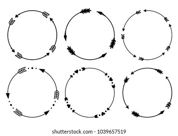 Circle arrow frames for monograms. Arrows in boho style. Tribal arrows. Vector collection