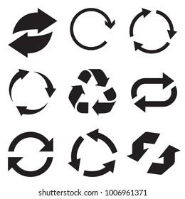 Circle arrow icon. Refresh and reload arrow icon. Rotation vector arrows set. Vector illustartion.