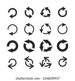 Circle arrow icon. Round arrows, circular pointing sign and circles button or internet restart reload rotate arrow. Circled cursor web recycling progress buttons vector isolated icons set