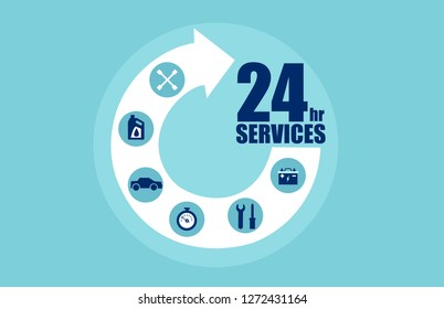 Circle arrow step services 24 hours with icons for automobile care. Vector for car services concept