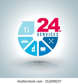 Circle arrow step services  24 hours with icons for car service. Vector illustration. for car services concept and business car services.