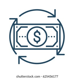 Circle Arrows around Dollar Bill vector icon in meaning Money Flow