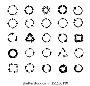 circle arrows icon, pictogram refresh reload rotation loop, signs of recycling. vector set