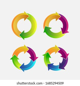 Circle arrows infographic design vector template. Vector circle with 2, 3, 4, 5 steps.