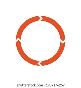 Circle arrows for infographic. Simple flat 360 diagram icon.