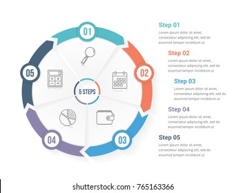 Circle arrows - infographic template with five elements, steps or options, workflow or process diagram, vector eps10 illustration