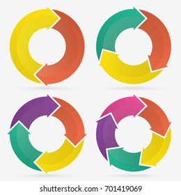 circle arrows infographic template pie charts with 2, 3, 4, 5 steps