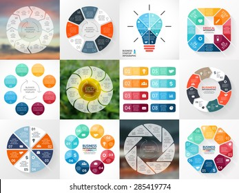 Circle arrows infographics set. Template for cycle diagram, graph, presentation and round chart. Business concept with 8 options, parts, steps, processes. Vector blur background. Data visualization.