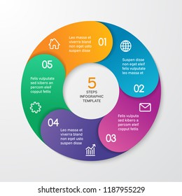 Circle arrows for infographics. Template for cycle diagram, options, graph, web design, presentation and round chart. Business concept with 5 steps. Abstract background. Vector illustration.