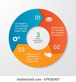 Circle arrows for infographics. Template for cycle diagram, options, graph, web design, presentation and round chart. Business concept with 3 steps. Abstract background. Vector illustration.