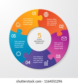 Circle arrows puzzle infographics. Template for cycle diagram, options, graph, web design, presentation and round chart. Business concept with 5 steps. Abstract background. Vector illustration.