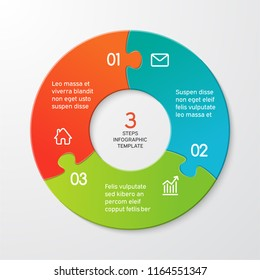 Circle arrows puzzle infographics. Template for cycle diagram, options, graph, web design, presentation and round chart. Business concept with 3 steps. Abstract background. Vector illustration.