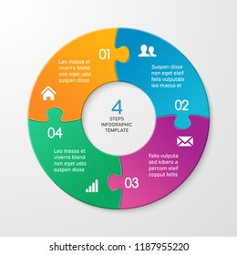 Circle arrows puzzle infographics. Template for cycle diagram, options, graph, web design, presentation and round chart. Business concept with 4 steps. Abstract background. Vector illustration.