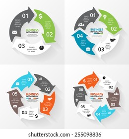 Circle arrows set for infographic, diagram, graph, presentation and chart. Business concept with 3, 4, 5, 6 options, parts or steps. Linear graphic. Blur vector background.