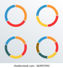 Circle arrows set. Circle Infographic template for process diagrams, chart, graph, web design and presentation with 3, 4, 5, 6 options or levels. Vector illustration.