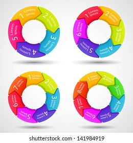 Circle arrows set for your info graphic