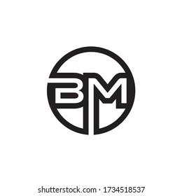 circle B M letter lines logo design vector