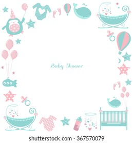 Circle baby frame. Cute greetings card for baby shower. Pattern with accessories for babies: baby clothes, cradle, pacifier, feeding bottle, birthday cake, balloons, toys, crib.