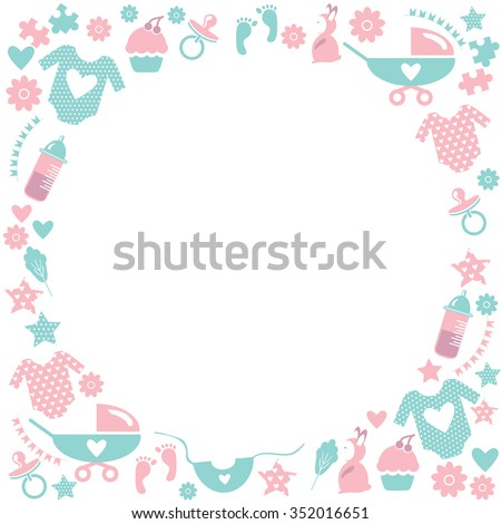 Circle baby frame cute greetings card baby stock vector royalty circle baby framete greetings card for baby shower with babies accessories baby clothes m4hsunfo