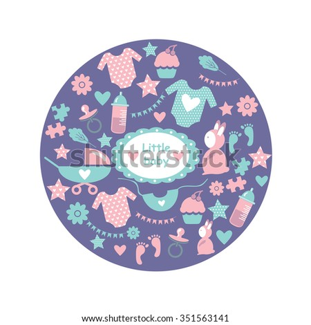 Circle baby pattern cute greetings card stock vector royalty free cute greetings card for baby shower with babies accessories baby clothes m4hsunfo