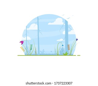 Circle background with spring and summer flowers, trees and blue sky. Clouds and birds on sky background. Spring and summer nature abstract cartoon vector illustration.