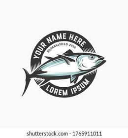 Circle Badge Fish Premium Logo Design