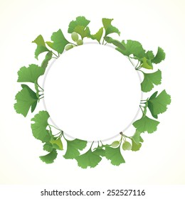 Circle banner with Gingko biloba leaves