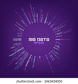 Circle bigdata abstract vector background. Digital columns of information. Big data concept