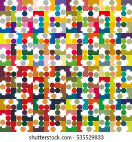 circle and block tile ,color - Geometric seamless pattern