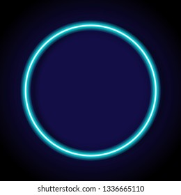 circle blue neon tube frame with shadow for pattern and design.