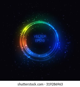 Circle Border with Light Effects. Vector illustration for your artwork, party flyers, posters