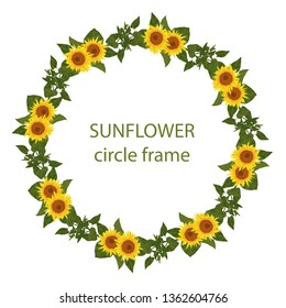 Circle border with sunflower and leaf. Sun flowers round frame. Flower crown from yellow floral and leaves illustration. Watercolor hand drawn style. Greeting card invitation decorative.