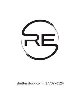 circle brush RE letter logo design concept