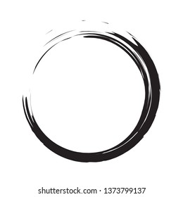 Circle brush stroke vector isolated on white background. Black enso zen circle brush stroke. For stamp,seal, ink and paintbrush design template. Sun grunge hand drawn circle shape, vector illustration