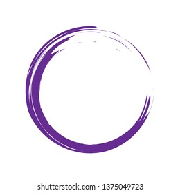 Circle brush stroke vector isolated on white background.Violet enso zen circle brush stroke. For stamp,seal, ink and paintbrush design template.  vector illustration