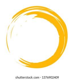Circle brush stroke vector isolated on white background. Orange enso zen circle brush stroke. For stamp,seal, ink and paintbrush design template.Sun grunge hand drawn circle shape, vector illustration