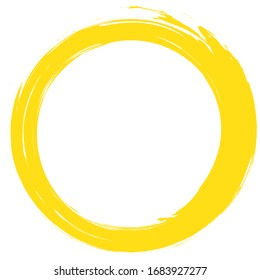 Circle brush stroke vector isolated on white background.Yellow enso zen circle brush stroke.For round stamp, seal, ink and paintbrush design template.Grunge hand drawn circle shape,vector illustration