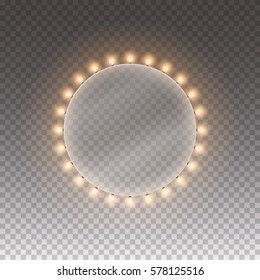Circle bulb. Illuminated round light casino banner isolated on transparent background. Vector circle frame with bulbs. Retro ring sign with lamps. Glowing lights billboard for advertising design.