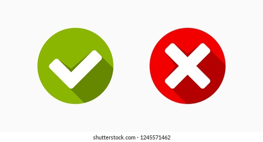 Circle Button with Green and Red Check Mark Yes or No Icons Vector