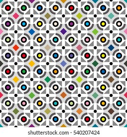 circle button image,color tile - Geometric seamless pattern